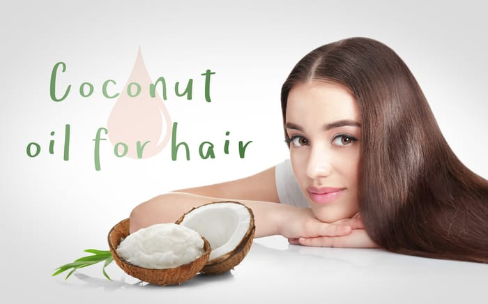 Coconut oil for hair. Young woman and cosmetic on white background