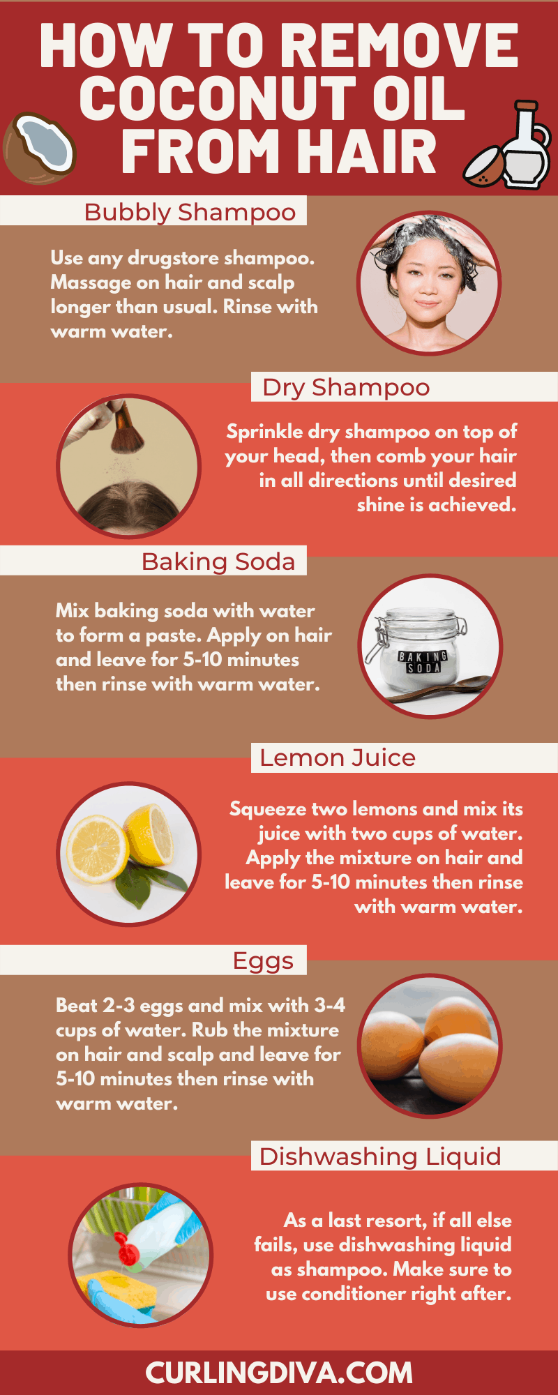 Infographic on How to Get Coconut Oil out of hair